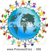 Clipart of a Ring of Global Kids Dancing Around an Africa Globe by Prawny
