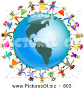 July 11th, 2013: Clipart of a Ring of Global Kids Holding Hands Around an America Globe by Prawny