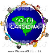 Clipart of a Round Children Holding Hands in a Circle Around a South Carolina Globe by Djart
