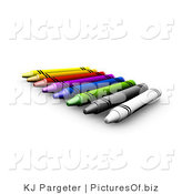 Clipart of a Row of Crayons by KJ Pargeter