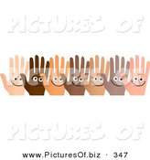 December 28th, 2012: Clipart of a Row of Diverse and Happy Hands over White by Prawny
