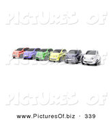 Clipart of a Row of Six Colorful Cars Lined up on a Lot on White by KJ Pargeter