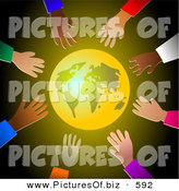 Clipart of a Shining Gold Earth Surrounded by Diverse Reaching Hands by Prawny