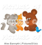 Clipart of a Small Bluebird Chatting with a Cute Bear, Kitten and Puppy by Alex Bannykh