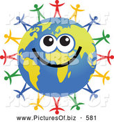Clipart of a Smiling Global Face Character with Diverse People Surrounding by Prawny