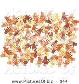 December 19th, 2012: Clipart of a Solid White Background of Diverse and Happy Hands by Prawny