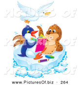 Clipart of a Spotted Brown Seal Posing for a Penguin Artist on a Sheet of Ice, a Bird Flying Above by Alex Bannykh