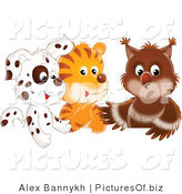 Clipart of a Spotted Puppy, Tiger and Baby Owl in a Group on White by Alex Bannykh