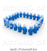 Clipart of a Square of Unity 3d Blue People by 3poD