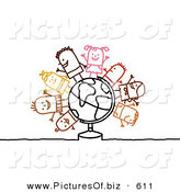 Clipart of a Stick Figure People Character Children Standing on a Globe by NL Shop
