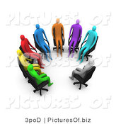 Clipart of a Support Group of 3d Diverse People Sitting in a Circle by 3poD