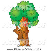 Clipart of a Sweet Brown Bear Cub Climbing a Tree to Visit a Friendly SquirrelSweet Brown Bear Cub Climbing a Tree to Visit a Friendly Squirrel by Alex Bannykh