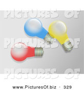January 11th, 2013: Clipart of a Trio of Colorful Light Bulbs by Prawny