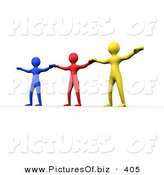 Clipart of a Trio of Diverse Colorful People Holding Their Arms out to Each Other by Chrisroll