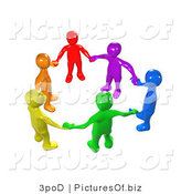 Clipart of a Union of 3d Diverse People Holding Hands by 3poD