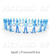 Clipart of a Unity Circle of 3d Blue People by 3poD
