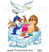 September 14th, 2012: Clipart of a White Gull Bird Flying over a Seal and Penguin Coloring in a Book on a Floating Sheet of Ice by Alex Bannykh