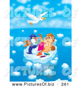 Clipart of a White Seagull Bird Flying Above a Seal Chatting with a Penguin Who Is Drawing in a Book on a Floating Ice Sheet on a Beautiful Day by Alex Bannykh