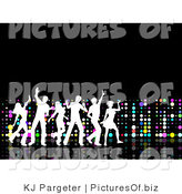 Clipart of a White Silhouetted Group of Young Partying People Dancing on a Black Surface, with a Wall of Colorful Dots by KJ Pargeter