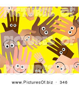 December 27th, 2012: Clipart of a Yellow Background of Smiling Diverse Hands by Prawny