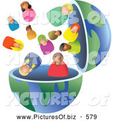 Clipart of an Open Globe with Diverse People Inside by Prawny