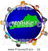 Clipart of Children Holding Hands in a Circle Around a Blue and Green Kentucky Globe by Djart