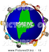 Clipart of Children Holding Hands in a Circle Around a Green Maine Globe by Djart