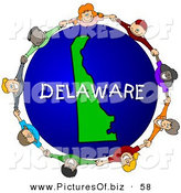 Clipart of Children Holding Hands in a Ring Around a Delaware Globe on White by Djart