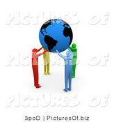 Clipart of Colorful 3d People Holding a Blue Globe by 3poD