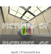 Clipart of Colorful 3d People in a Television Screen in a Futuristic Room by 3poD