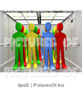 Clipart of Colorful People in an Elevator by 3poD