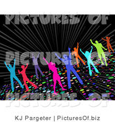 Clipart of Colorful Silhouetted Partying Men and Women Dancing on a Sparkling Disco Dance Floor on a Black Background by KJ Pargeter