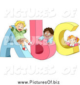 Clipart of Cute Diverse Children Playing on ABC by BNP Design Studio