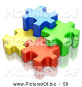Clipart of Different Sized Interlocking 3d Blue, Green, Red and Yellow Puzzle Pieces by Tonis Pan