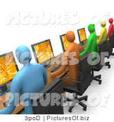 Clipart of Diverse 3d Computer Programmers Working in an Office by 3poD