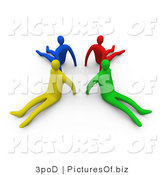 Clipart of Diverse 3d People Sitting with Their Backs in a Circle by 3poD