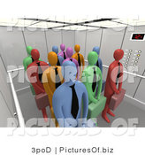 Clipart of Diverse Business People in a 3d Elevator by 3poD