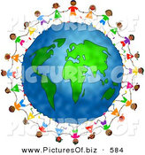 Clipart of Diverse Children Holding Hands and Running Circles Around the Globe by Prawny