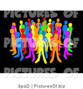 Clipart of Diverse Colorful People Standing Proudly on Black by 3poD