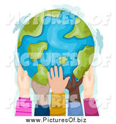 Clipart of Diverse Hands Holding a Globe by BNP Design Studio