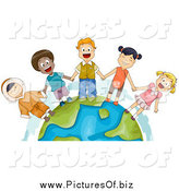 Clipart of Diverse Kids Holding Hands and Standing on Earth by BNP Design Studio