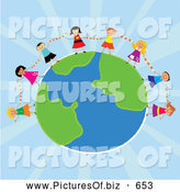November 26th, 2013: Clipart of Diverse Kids Holding Hands Around Planet Earth over Blue Rays by