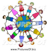 Clipart of Diverse Stick Kids Holding Hands and Standing on a Globe by BNP Design Studio