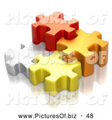 Clipart of Four Different Sized 3d White, Red, Orange and Yellow Puzzle Pieces by Tonis Pan