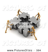 Clipart of Four Orange Models Pushing Metal Pieces of a Puzzle Together by Stockillustrations