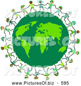 Clipart of Kids Circling a Green Eco Friendly Earth Globe by Prawny