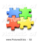 Clipart of Linking Interlocked Colorful Jigsaw Puzzle Pieces by Tonis Pan