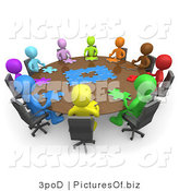 Clipart of Meeting of People Trying to Solve a Jigsaw Around a Large Rectangular Conference Table in an Office by 3poD