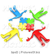 Clipart of Puzzle Head People Connecting Their Pieces by 3poD