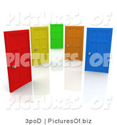 Clipart of Red, Yellow, Green, Orange and Blue Closed Doors, on White Symbolizing Choices and Opportunities by 3poD